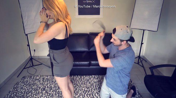 Hier peitscht MarcelScorpion seine Freundin mit einem Gürtel aus